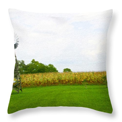 Windmill Throw Pillow featuring the photograph Rural Outhouse by Nina Fosdick