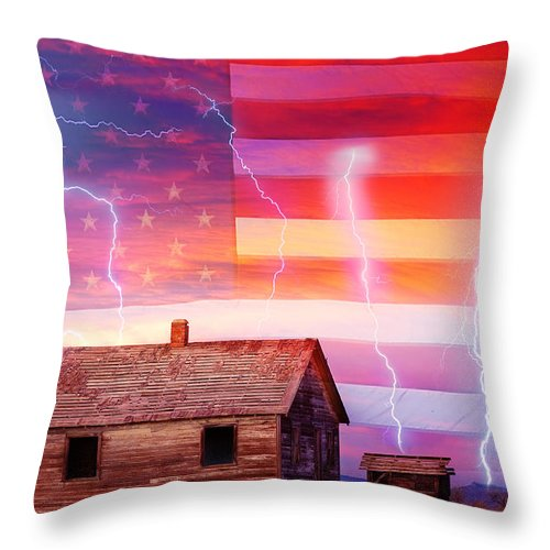 North Throw Pillow featuring the photograph Rural Rustic America Storm by James BO Insogna