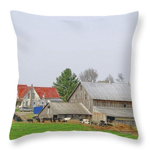 Farm Throw Pillow featuring the photograph Rural Vermont Farm Scene by Deborah Benoit