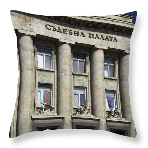 Courthouse Throw Pillow featuring the photograph Ruse Bulgaria Courthouse by Sally Weigand