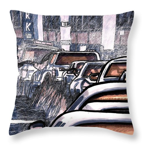Rush Hour Throw Pillow featuring the painting Rush Hour Approach To Midtown Tunnel Nyc by Al Goldfarb