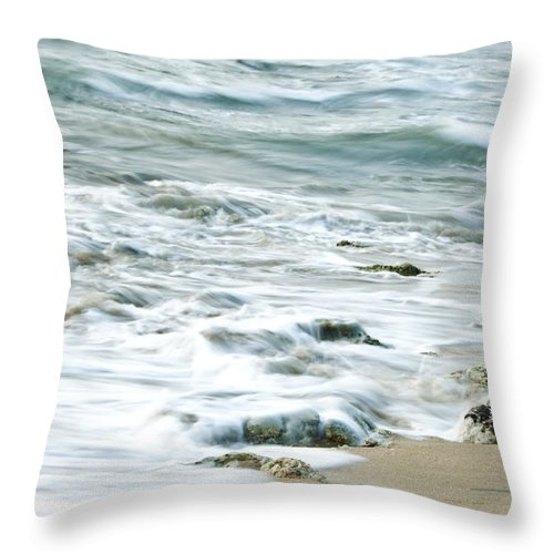 Sea Throw Pillow featuring the photograph Rushing In by Charuhas Images