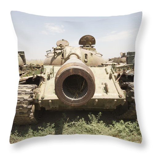 Afghanistan Throw Pillow featuring the photograph Russian T-54 And T-55 Main Battle Tanks by Terry Moore