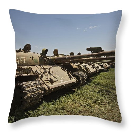 Tank Throw Pillow featuring the photograph Russian T-62 Main Battle Tanks Rest by Terry Moore