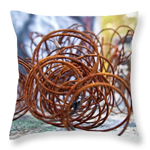 Rust Throw Pillow featuring the photograph Rusted Spring 1 by Maglioli Studios