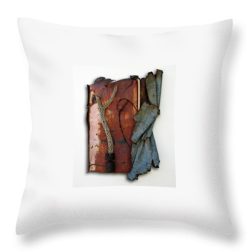 Assemblage Sculptures Throw Pillow featuring the sculpture Rustic Elegance by Snake Jagger