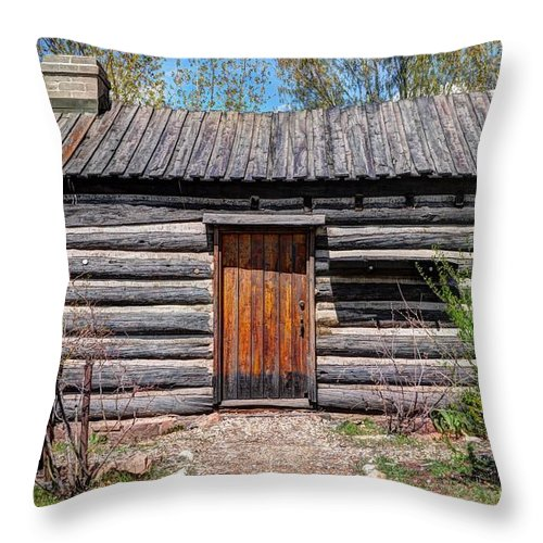 Rustic Throw Pillow featuring the photograph Rustic Pioneer Log Cabin - Salt Lake City by Gary Whitton
