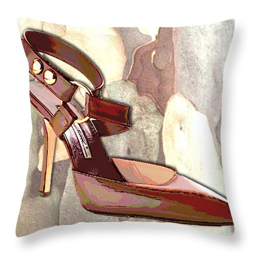 Shoes Heels Pumps Fashion Designer Feet Foot Shoe Stilettos Painting Paintings Illustration Illustrations Sketch Sketches Drawing Drawings Pump Stiletto Fetish Designer Fashion Boot Boots Footwear Sandal Sandals High+heels High+heel Women's+shoes Graphic Sophisticated Elegant Modern Throw Pillow featuring the painting Rustic Saddle Up by Elaine Plesser