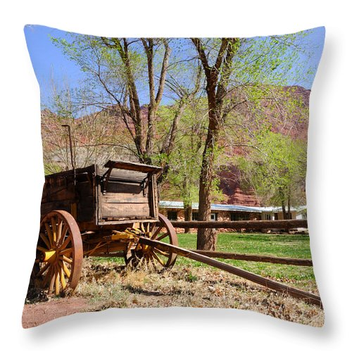 Blue Throw Pillow featuring the photograph Rustic Wagon At Historic Lonely Dell Ranch - Arizona by Gary Whitton