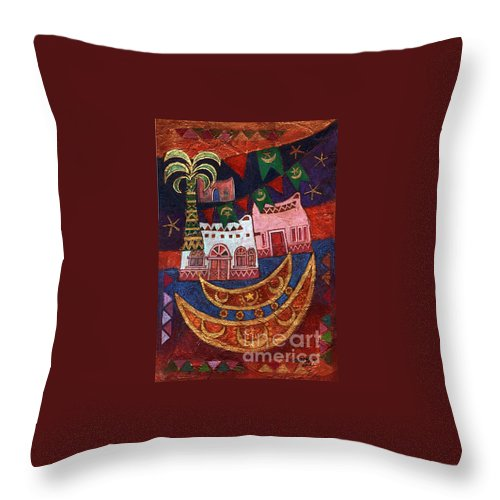 Abstract Expressionism – Architecture Throw Pillow featuring the mixed media Rustic Wedding by Dia Makeen