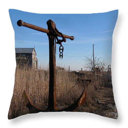 Rusty Anchor Throw Pillow featuring the photograph Rusty Anchor by Nancy Patterson
