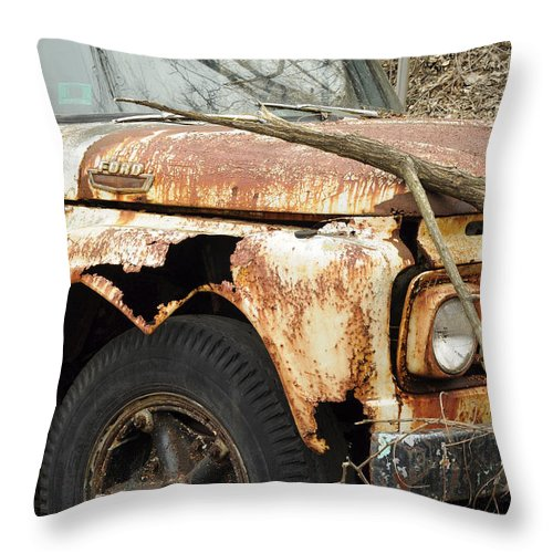 Ford Throw Pillow featuring the photograph Rusty Ford by Luke Moore