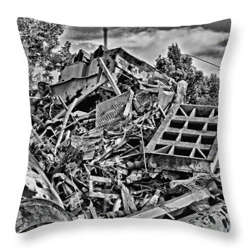 Metal Throw Pillow featuring the photograph Rusty Metal Stuff IIi by Debbie Portwood