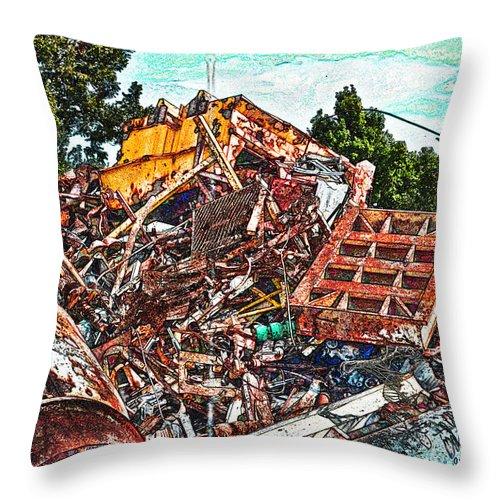 Metal Throw Pillow featuring the digital art Rusty Metal Stuff Iv by Debbie Portwood