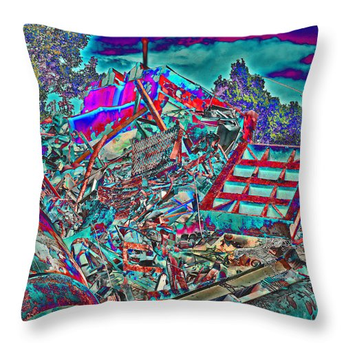 Metal Throw Pillow featuring the digital art Rusty Metal Stuff V by Debbie Portwood