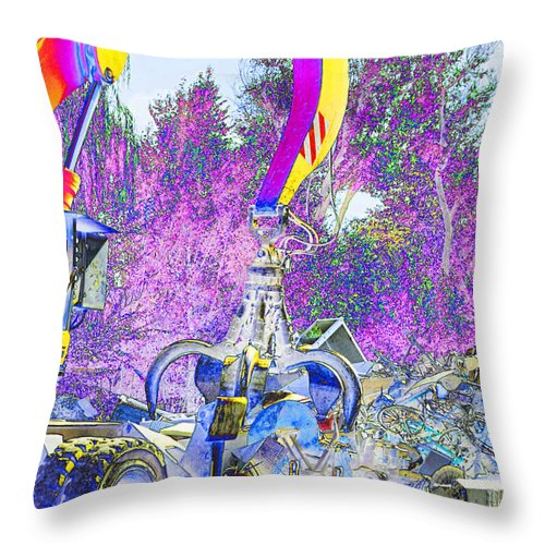 Metal Throw Pillow featuring the digital art Rusty Metal Stuff Vi by Debbie Portwood
