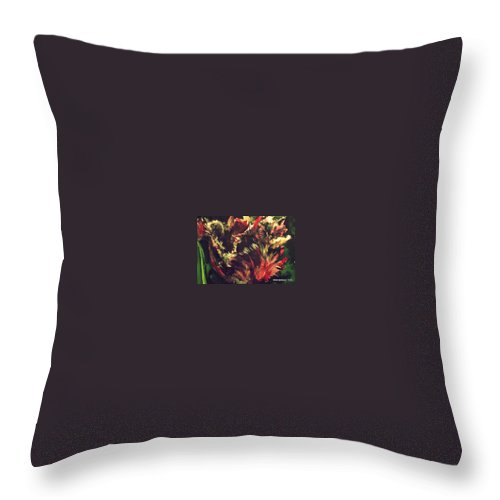 Parrot Tulip Throw Pillow featuring the photograph Rusty Tulip by Diane montana Jansson