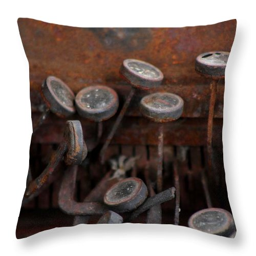 New Mexico Throw Pillow featuring the photograph Rusty Typewriter by Ashley M Conger
