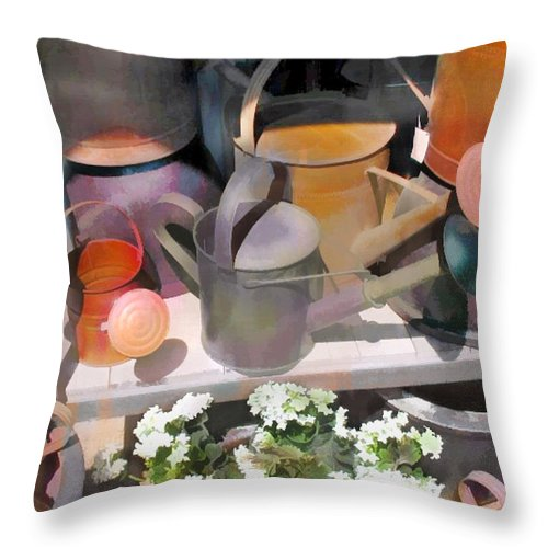 Throw Pillow featuring the painting Rusty Watering Cans by Elaine Plesser