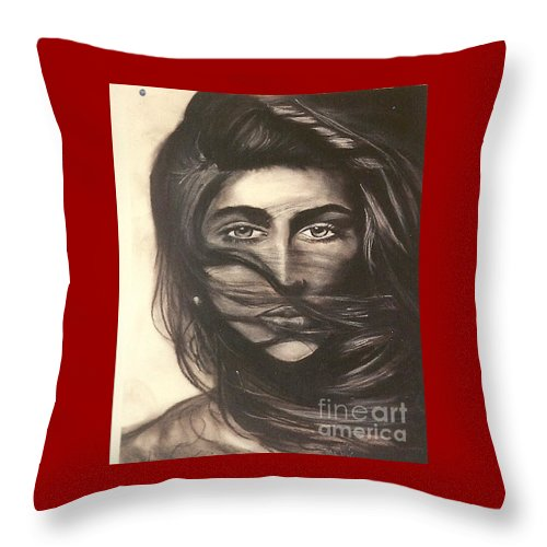 Woman Throw Pillow featuring the drawing Ryan's School Folder by Carrie Maurer