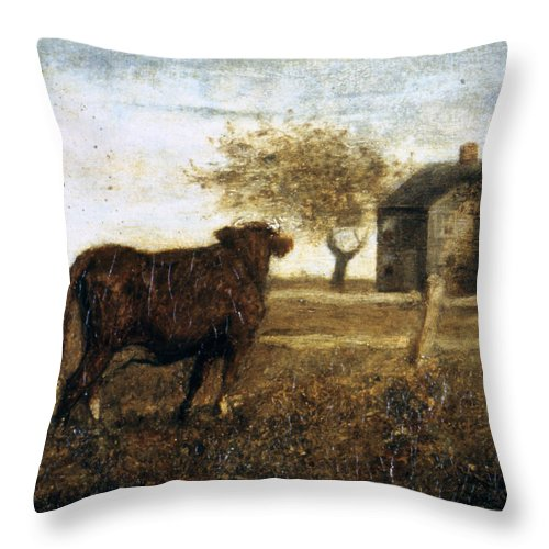 1875 Throw Pillow featuring the photograph Ryder: The Pasture, C1875 by Granger