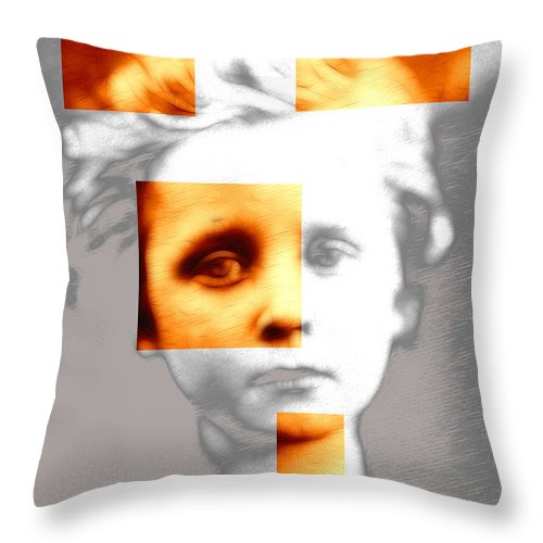 Boy Sad Abstract Expressionism Impressionism Square Color Black White Painting Throw Pillow featuring the digital art Sad Boy by Steve K