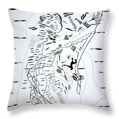 Jesus Throw Pillow featuring the drawing Saharawi Dance - Western Sahara by Gloria Ssali