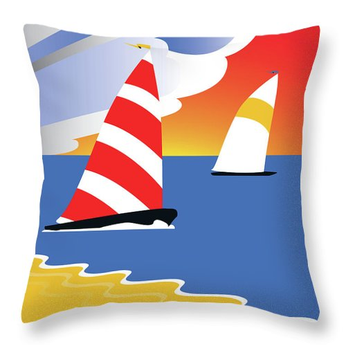 Sailing Throw Pillow featuring the digital art Sailing Before The Wind by Joe Barsin