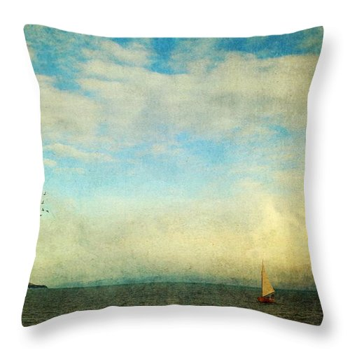 Seascape Throw Pillow featuring the photograph Sailing On The Sea by Michele Cornelius