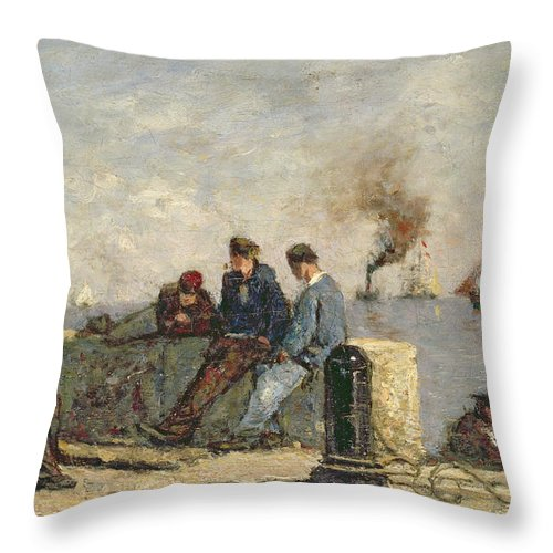 Sailors (oil On Canvas) Throw Pillow featuring the painting Sailors by Louis Alexandre Dubourg