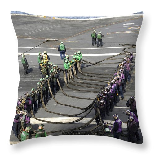 Order Throw Pillow featuring the photograph Sailors Participate In A Barricade by Stocktrek Images