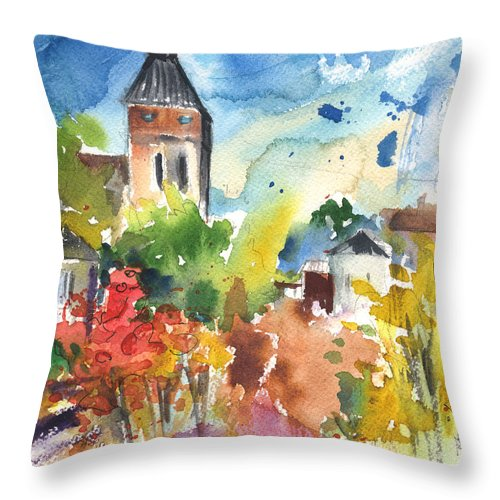 Travel Throw Pillow featuring the painting Saint Bertrand De Comminges 05 by Miki De Goodaboom