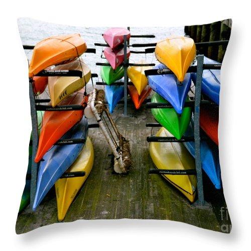 Kayak Throw Pillow featuring the photograph Salma Kayaks by Debbi Granruth