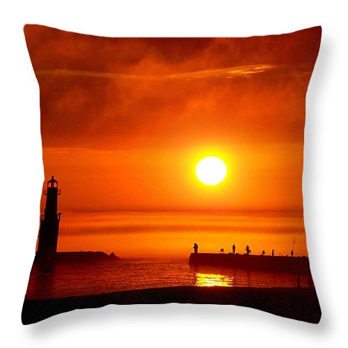 Lighthouse Throw Pillow featuring the photograph Salmon Hunters by Bill Pevlor