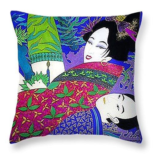 Erotic Throw Pillow featuring the painting Samurai And Geisha Pillowing by Dulcie Dee