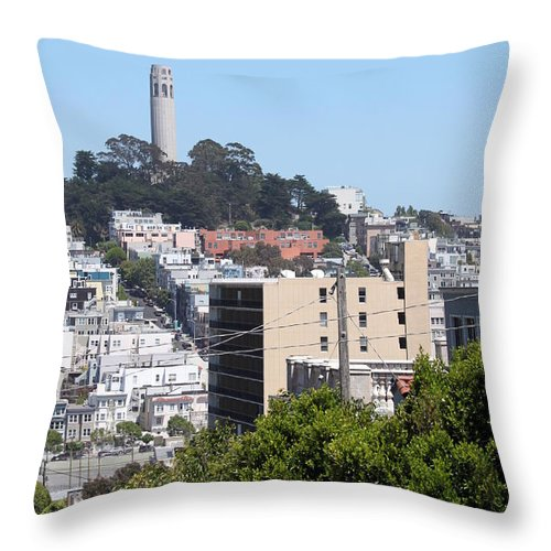 Aerial Throw Pillow featuring the photograph San Francisco Coit Tower by Henrik Lehnerer