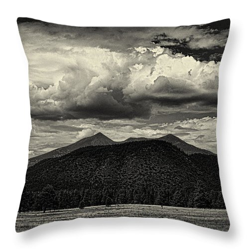 Flagstaff Throw Pillow featuring the photograph San Francisco Peaks In Black And White by Joshua House