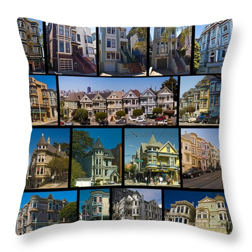 Painted Ladies Throw Pillow featuring the photograph San Francisco Victorians 2 by Tim Mulina