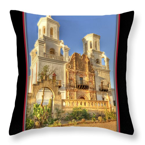 Mission Throw Pillow featuring the photograph San Xavier Mission 15 by Larry White