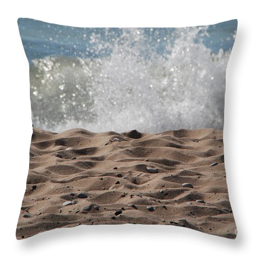 Beach Throw Pillow featuring the photograph Sand And Surf by Grace Grogan
