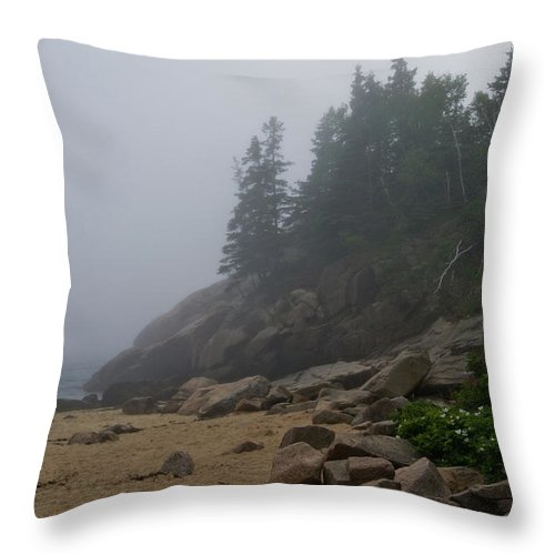 acadia National Park Throw Pillow featuring the photograph Sand Beech In A Fog by Paul Mangold