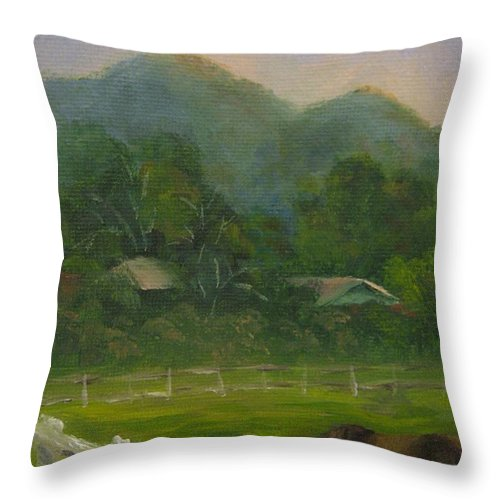 Horse Throw Pillow featuring the painting Sand Canyon Afternoon by Candace Doub