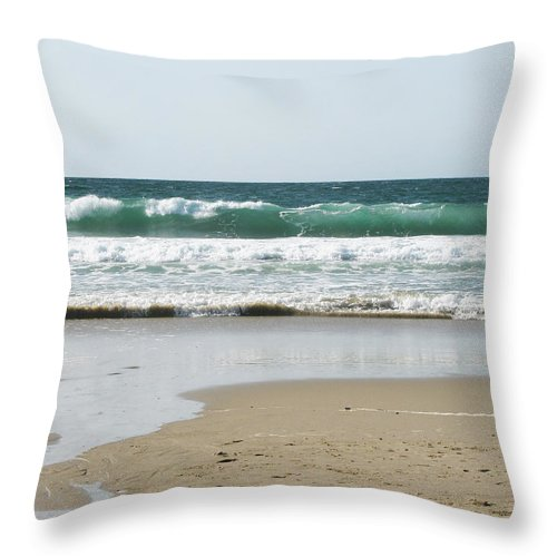 California Throw Pillow featuring the photograph Sand City Rolling Waves by Kathleen Grace