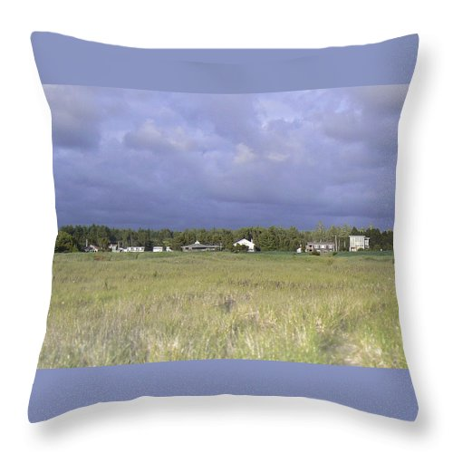 Beach Houses Throw Pillow featuring the photograph Sand Dwellers by Pamela Patch