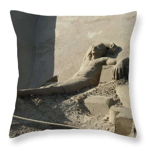 Sand Sculpture Throw Pillow featuring the photograph Sand Man by Maria Joy
