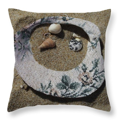 Shell Throw Pillow featuring the photograph Sand On A Half Shell by Trish Tritz