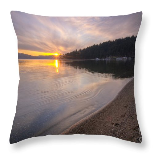 Coeur D'alene Throw Pillow featuring the photograph Sanders Sunset by Idaho Scenic Images Linda Lantzy