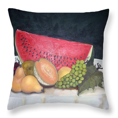 Watermelon Throw Pillow featuring the painting Sandia Con Frutas by Veronica Zimmerman
