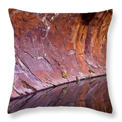 Reflection Throw Pillow featuring the photograph Sandstone Reality by Mike Dawson