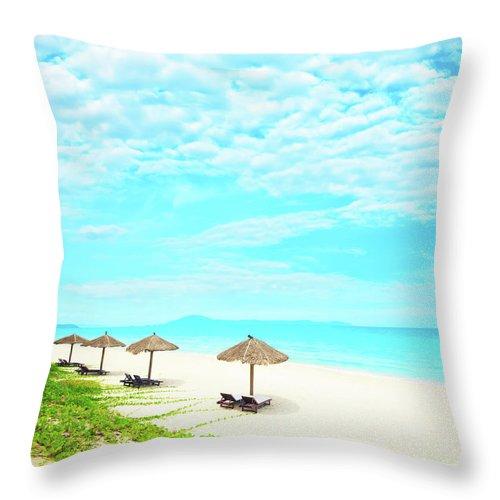 Ocean Throw Pillow featuring the photograph Sandy Beach by MotHaiBaPhoto Prints